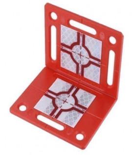 Plaquette angulaire cible rs90 grise et rouge, Vente de cible reflechissante, Topographie-lepont.fr